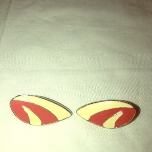 Vintage pair red Off white gold tone pierced earri